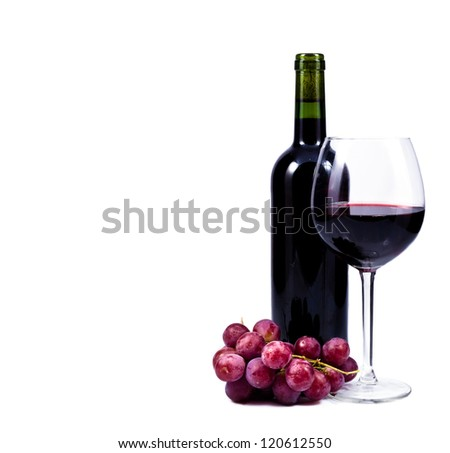 wine glass with red wine, bottle of wine and grapes isolated over white background - stock photo
