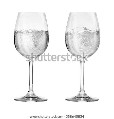 Wine glass with soda isolated on white background - stock photo
