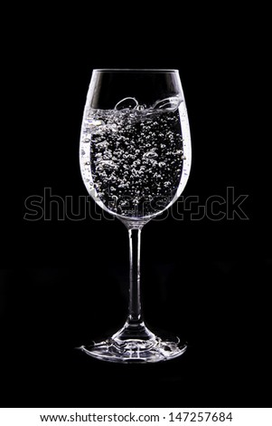 Wine glass with water, Bubble