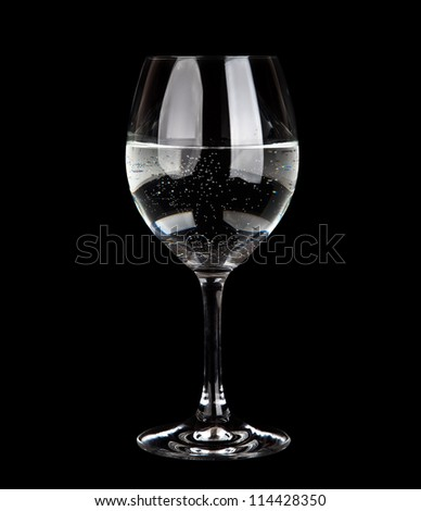 Wine Glass with water  isolated on Black Background