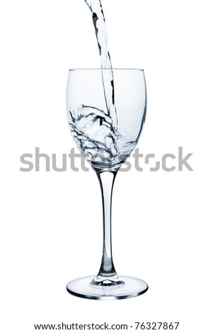 Wine glass with water over white background - stock photo