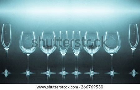 wine glasses decorative in restaurant - stock photo
