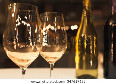 Wine glasses in a fine dinning setting