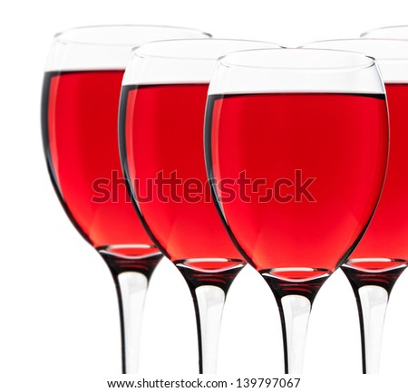 Wine glasses isolated on white background