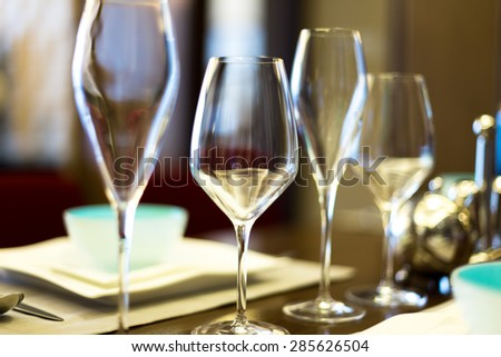 wine glasses on banquet table - stock photo