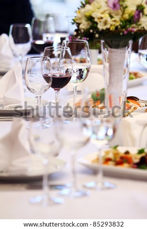 Wine glasses on luxury banquet table