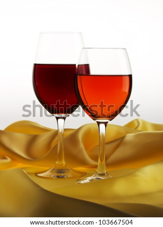 Wine Glasses on satin background