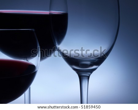 wine glasses on the dark background