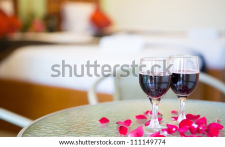 Wine glasses on the table - stock photo