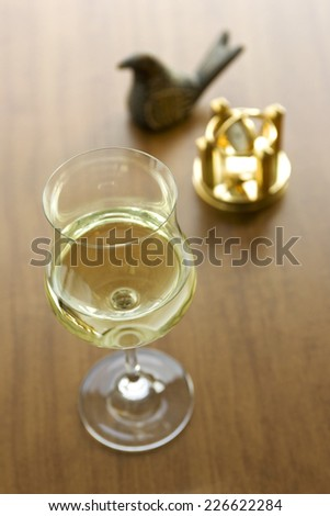 Wine glasses placed in a study