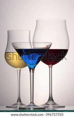 Wine glasses / red wine glass/ white wine glass/ martini glass / cognac glass isolated on white background