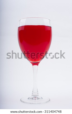 Wine Glasses with Brightly Colored Water on a White Background - Red