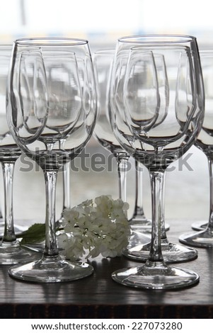Wine glasses with flower on a light background