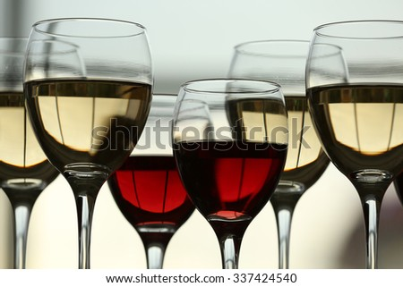 Wine glasses with wine closeup