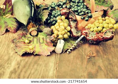 wine, grapes - stock photo