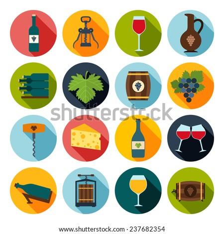 Wine icons set of grape bottle glass corkscrew isolated  illustration - stock photo