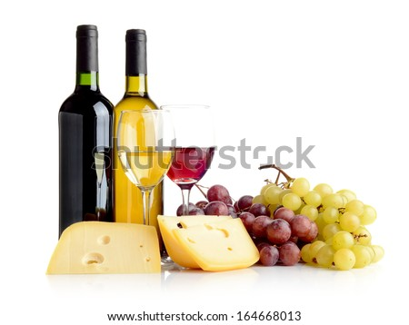 Wine in bottles and glasses, grapes, cheese isolated on white