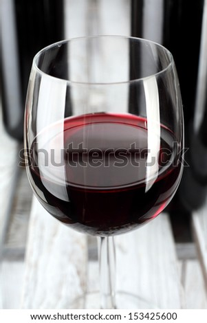 wine in glass of red color  - stock photo