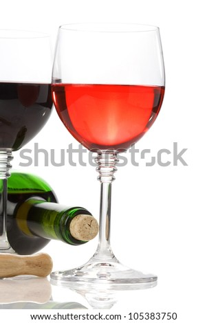 wine in glasses and bottle isolated on white background - stock photo