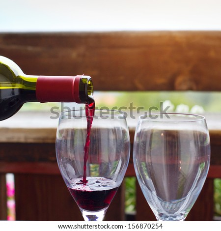 wine in  the restaurant - with place for text - stock photo