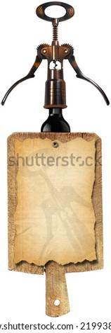Wine List Design / Notebook for a wine list or menu on used wooden cutting board with black corkscrew and black bottle isolated on white background  - stock photo