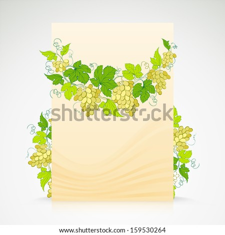 Wine list design with grapes decoration.  illustration.