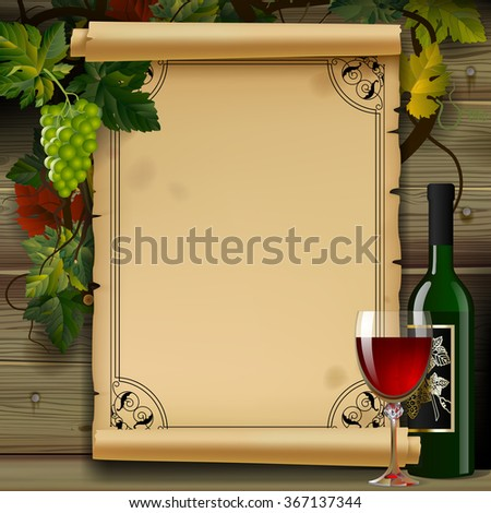 Wine list with old parchment, grapes, bottle and wineglass on wood background. Vintage menu template - stock photo
