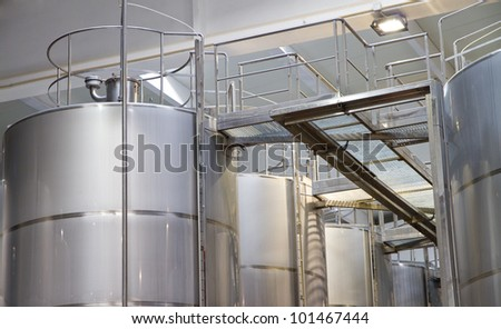 Wine Making aluminum tanks Equipment, silver color - stock photo