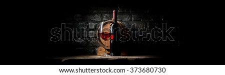 Wine on black bricks