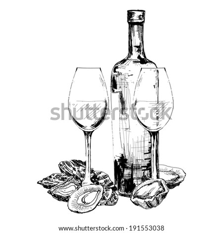 Wine, oysters and two glasses. Hand drawn illustration - stock photo