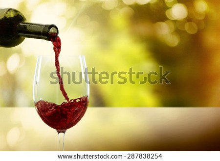 Wine, Pouring, Glass. - stock photo
