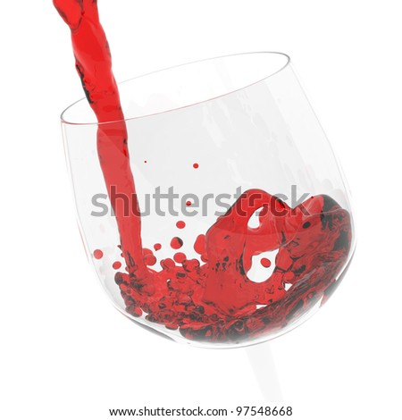 wine pouring into a glass on white background - stock photo