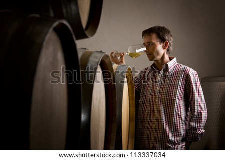 Wine producer smelling a sample of white wine in glass while wine tasting it in cellar. - stock photo