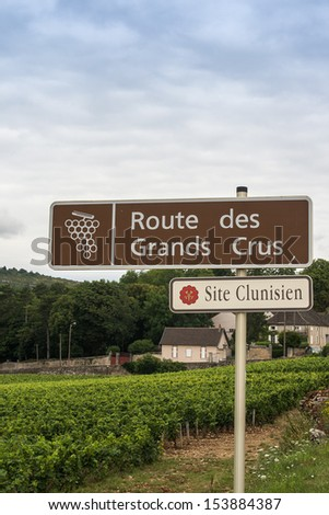 Wine route of grand crus sign near a vineyard in Cluny, Burgundy, France