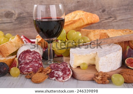 wine,salami and cheese