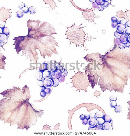 Wine seamless pattern of Wine stain circles and leaves on a white background. Watercolor hand drawing marks. - stock photo