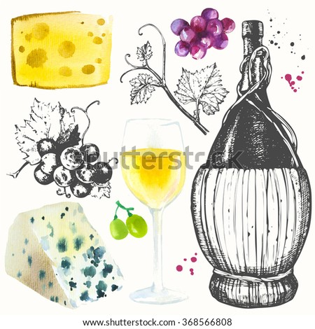Wine set. Winemaking products in sketch style. Watercolor and sketch illustration with wine glass, grapes, grape twig, cheese. Classical alcoholic drink. - stock photo