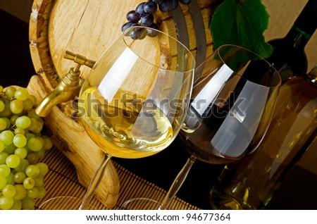 Wine stillife on the table. - stock photo