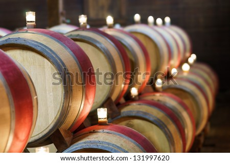 Wine storage hall at a winery, Napa Valley, California - stock photo