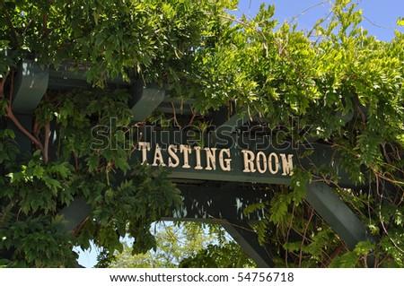 Wine Taste Room Sign at California Vineyard - stock photo