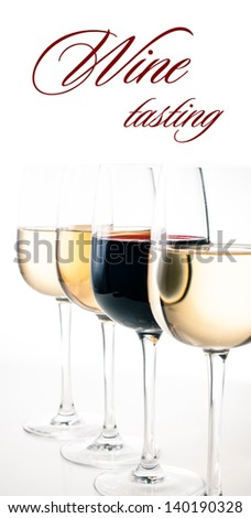 Wine-tasting, a few glasses of red and white wine close-up on a white background, isolated, ready template