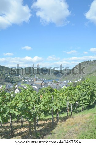 Wine Village of Alken at Mosel River in Mosel Valley near Cochem,Rhineland-Palatinate,Germany - stock photo