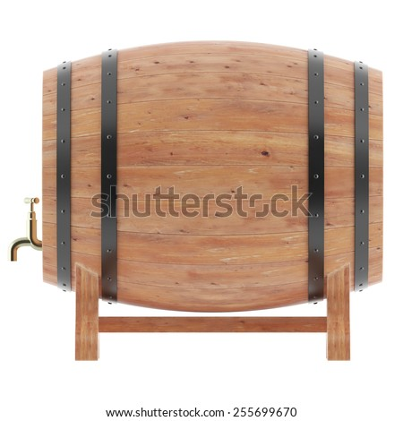 Wine, whiskey, beer, rum barrels isolated on white background. 3D illustration high resolution - stock photo