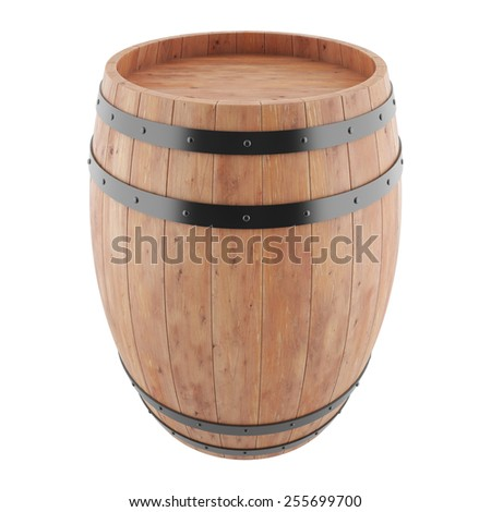 Wine, whiskey, rum, beer, barrel isolated on a white background. 3d illustration high resolution - stock photo
