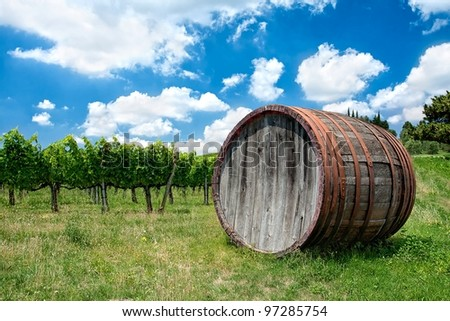 Wine, wine barrel and background of vineyard on a bright summer day in Tuscany - stock photo