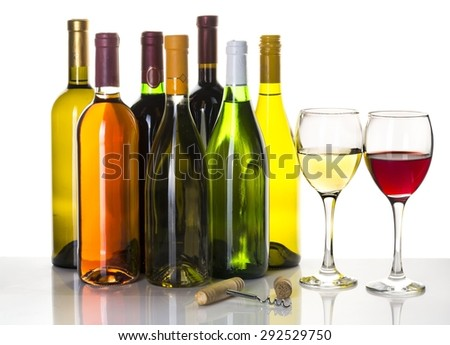 Wine, Wine Bottle, Bottle. - stock photo
