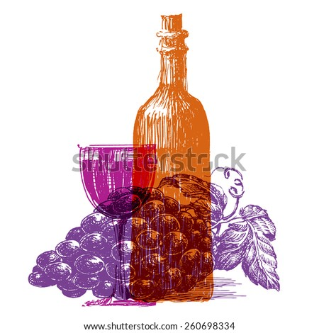 wine, winery on a white background. sketch - stock photo