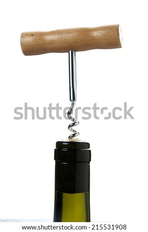 wine with a corkscrew isolated on white