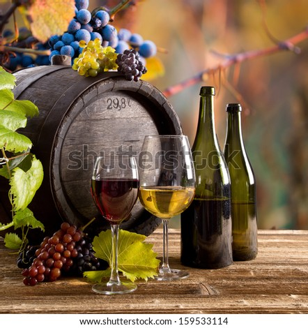 Wine with barrel on vineyard  - stock photo