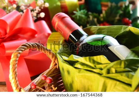 wine with christmas gifts - stock photo